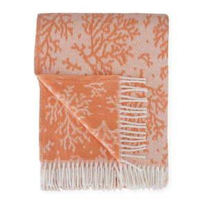 Pomarańczowy pled z domieszką bawełny Euromant Coral, 140x180 cm obraz