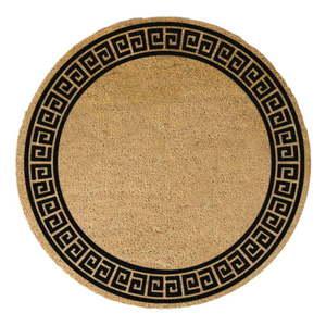 Okrągła wycieraczka z naturalnego włókna kokosowego Artsy Doormats Greek Border, ⌀ 70 cm obraz