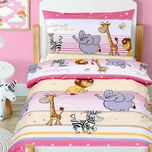 Dziecięca pościel bawełniana do łóżeczka Agáta Safari różowy, 90 x 135 cm, 45 x 60 cm obraz