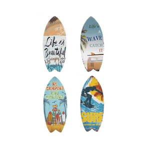 Zestaw 4 ściennych dekoracji z metalu Geese Surfboard obraz