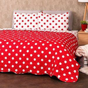 4Home Narzuta na łóżko Czerwona kropka, 220 x 240 cm, 2 szt. 50 x 70 cm obraz