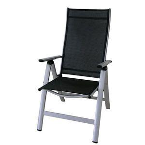 Krzesło ogrodowe rozkładane LONDON srebrny + czarny obraz