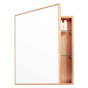 Lustro ze schowkiem z drewna dębowego Wireworks Mezza, 45x55 cm obraz