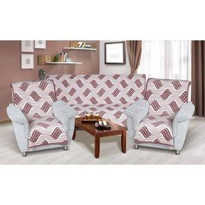 Narzuty na kanapę i fotele Karmela plus 3+1+1 Fala burgundy, 1 szt. 150 x 200 cm, 2 szt. 65 x 150 cm obraz