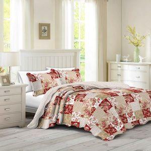 Narzuta na łóżko Patchwork róża Heda, 230 x 250 cm, 2 szt. 50 x 70 cm, 230 x 250 cm obraz