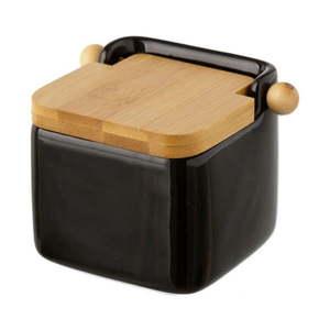 Czarny ceramiczny pojemnik na sól Unimasa, 750 ml obraz