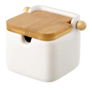 Biały pojemnik kamionkowy na sól z bambusowym wieczkiem Unimasa 250 ml obraz