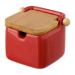 Czerwony pojemnik kamionkowy na sól z bambusowym wieczkiem Unimasa 250 ml obraz
