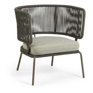 Zielony fotel ogrodowy ze stalową konstrukcją La Forma Nadin obraz
