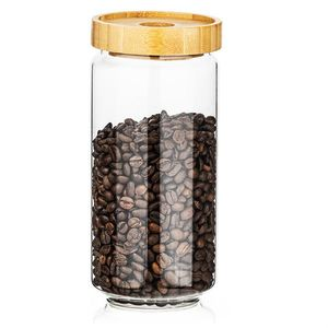 4Home Szklany pojemnik do żywności z wiekiem Bamboo Style, 1000 ml obraz