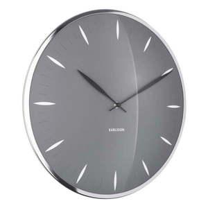 Szary szklany zegar ścienny Karlsson Leaf, ø 40 cm obraz