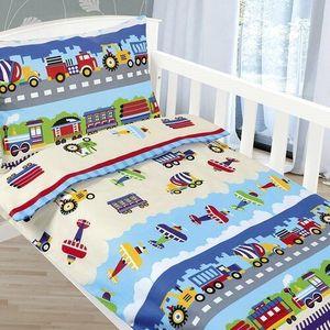 Bellatex Dziecięca Pościel bawełniana Agata Samoloty i samochody, 90 x 135 cm, 45 x 60 cm obraz