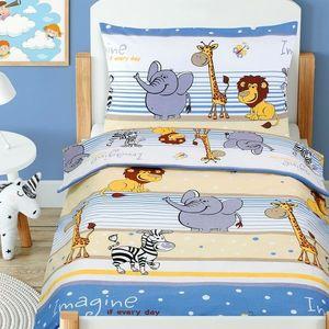Bawełniana pościel dziecięca do łóżeczka Beata Safari niebieski, 100 x 135 cm, 45 x 60 cm obraz