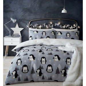 Pościel z mikropluszu z motywem pingwinów Catherine Lansfield, 200x200 cm obraz