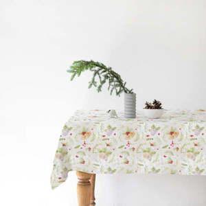 Świąteczny lniany obrus Linen Tales Merry, 140x350 cm obraz