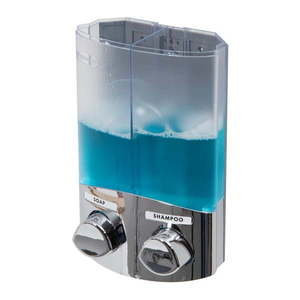 Srebrny podwójny dozownik mydła Compactor Uno, objętość 2x310 ml obraz