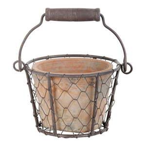 Koszyk druciany z terakotową doniczką i uchwytem Esschert Design obraz