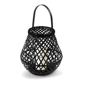 Czarny lampion bambusowy Compactor Bamboo Lantern, ⌀ 25 cm obraz