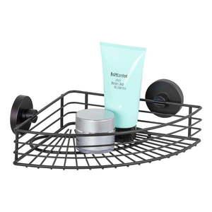 Czarna narożna półka łazienkowa Wenko Vacuum-Loc® Bari obraz