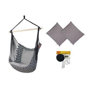 Fotel hamakowy z poduszkami i zestawem montażowym, szary Etno + HP-111 + koala/fix/ch2 obraz