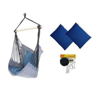 Fotel hamakowy z poduszkami i zestawem montażowym, Granatowy Etno + HP-113 + koala/fix/ch2 obraz