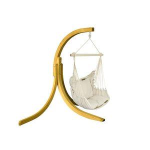 Zestaw hamakowy: fotel HC9 ze stojakiem drewnianym Alicante Swing, ecru fotel HC9+stojak Alicante Swing obraz