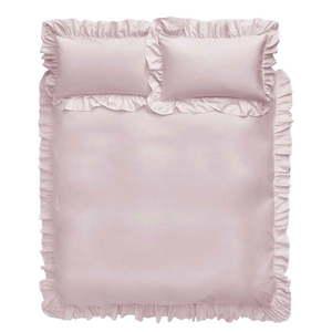 Różowa bawełniana pościel Bianca Frill, 200x200 cm obraz