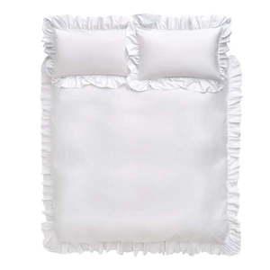 Biała bawełniana pościel Bianca Frill, 135x200 cm obraz