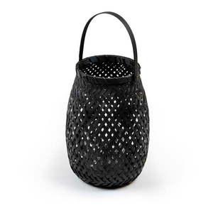 Czarny lampion bambusowy Compactor Bamboo Lantern, ⌀ 18 cm obraz