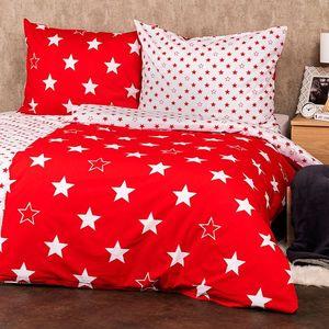 4Home Pościel bawełniana Stars red, 160 x 200 cm, 70 x 80 cm, 160 x 200 cm, 70 x 80 cm obraz